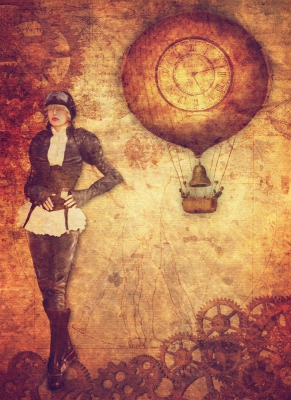 Steampunk Girl mit Ballon