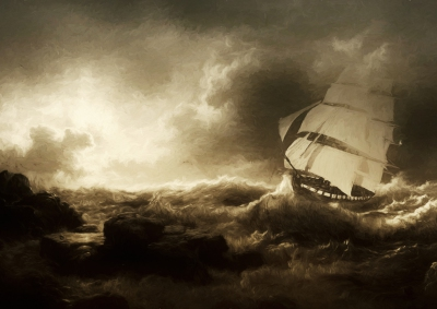 Sailing ship in stormy sea