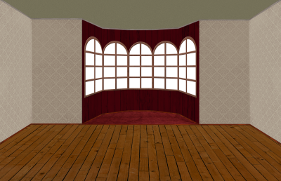 Empty room with bay window - Transparent