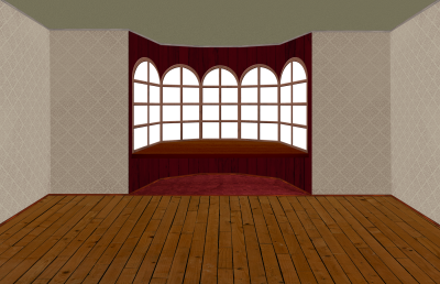 Empty room with bay window and window sill - Transparent