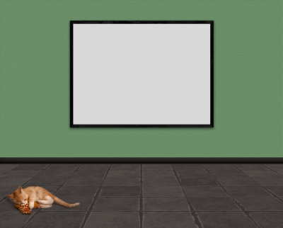 Empty room with large picture frame and cat