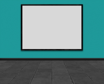 Empty room with large picture frame