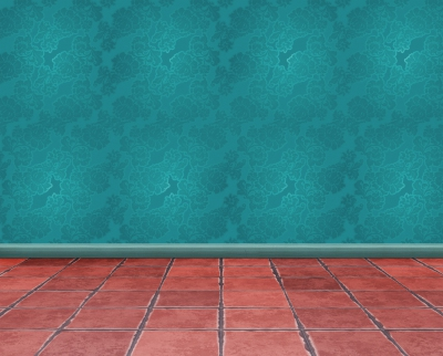 Empty room with terracotta floor and blue wallpaper