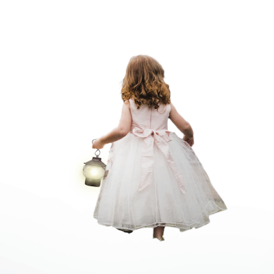 Sweet Little Girl With Lantern From Back - Transparent