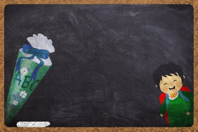 Blackboard with student