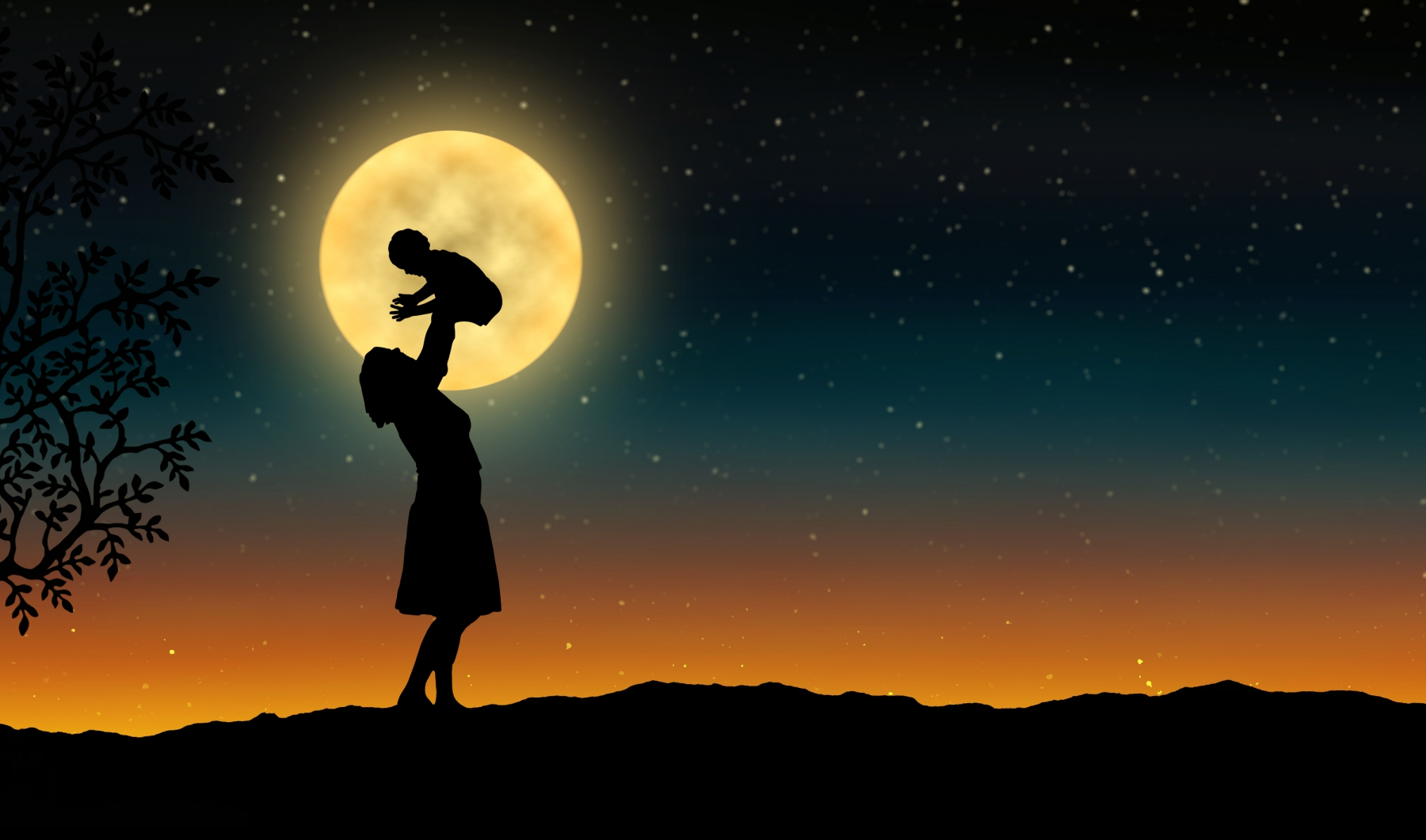 mother with her baby - silhouette