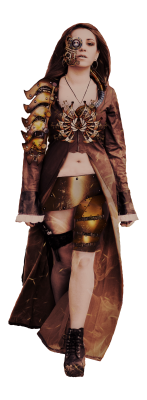 Steampunk - Person Frau im Outfit - Transparent