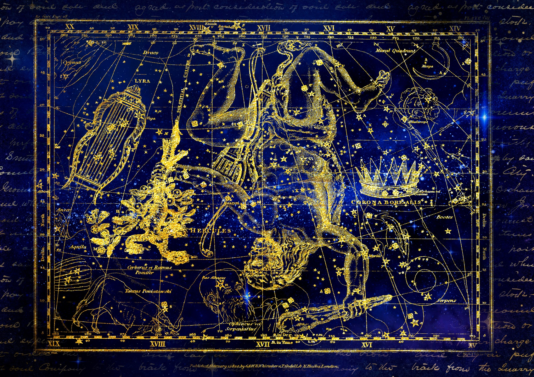 Ancient Zodiac Signs Constellation Snake and Hercules