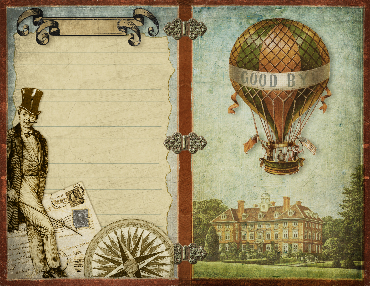 Junk-Journal-Reisen -im-Heissluftballon- Good bye