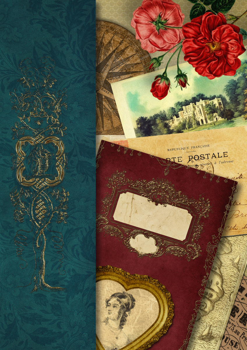 Reise-Tagebuch - Edles, digitales Vintage Scrapbook Journal