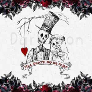 Dark-Romantic Gothic Wedding Card with Sculls Bride and Groom